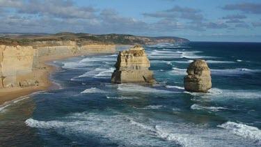 Timelapse Great Ocean Road coast. Two of the Twelve 12 Apostles.