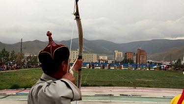 Archery in Naadam Festival, UB, Mongolia.