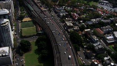 Aerial - Sydney - Highway connect to Sydney Harbour Bridge