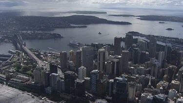 Sydney to Blue Mountains - Aerial - Sydney - View of Sydney Harbour Bridge, Opera House, North Sydney City,  Sydney City, Port Jackson
