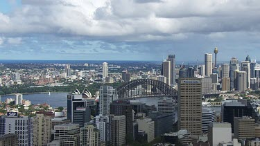 Sydney to Blue Mountains - Aerial - View from North Sydney City of Harbour Bridge, Sydney City, Opera House, Ferry Wharf