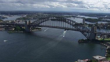 Sydney to Blue Mountains - Aerial - Sydney Harbour Bridge - Light Traffic