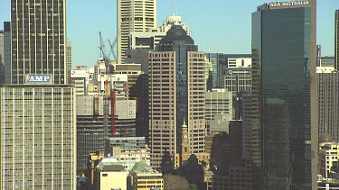 Sydney CBD city with tall office towers and Centrepoint tower in background.