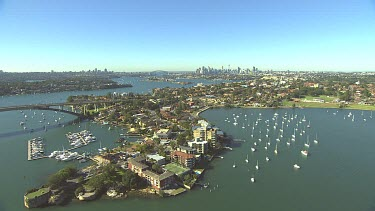 Sydney North Shore suburbs and inner west. Huntley's point, over Drummoyne and Rozelle to Sydney CBD. Gladesville bridge.