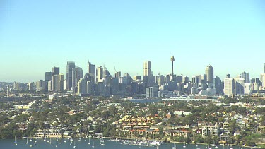 Sydney City CBD with suburbs in foreground. Wide Shot. Long Shot.