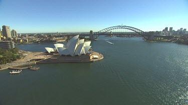 Sydney Harbour Bridge and Opera House. Wide shot and medium shot.