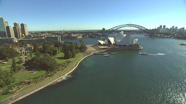 Sydney Harbour Bridge and Opera House. Wide Shot.