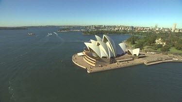 Sydney Harbour, Opera House. Botanical Gardens. Looking east