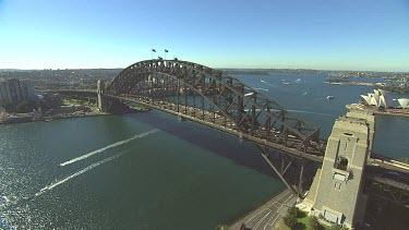 Sydney Harbour Bridge with Australian flags. Close Up