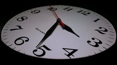 The reality of the ever present passing of time is evident as the camera rotates around the ticking clock.