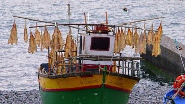 Fish Drying Racks On Boat, Camara De Lobos, Madeira, Portugal