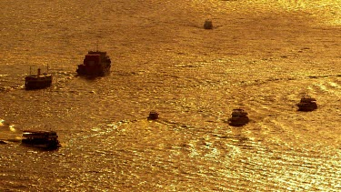 Boats & Ferries At Sunset, Victoria Harbour, Hong Kong