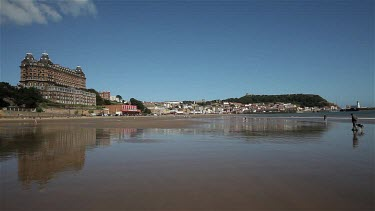 Grand Hotel, Beach, Castle & Lighthouse, South Bay Scarborough, England