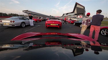 Ferrari'S Waiting To Parade, Silverstone, Race Track, England