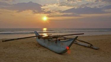 Fibreglass Fishing Boat & Sunset, Bentota Beach, Sri Lanka