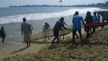Fishermen Pull Nets From Indian Ocean, Galle, Sri Lanka, Asia