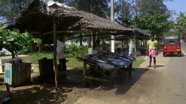 Cyclist Buys Fresh Fish, Weligama, Sri Lanka, Asia