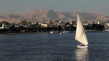 Felucca & Passenger Ferry, River Nile, Luxor, Egypt